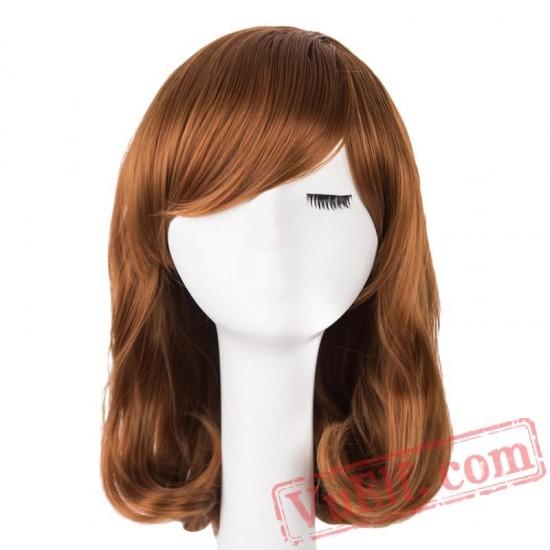 Yellow Blonde Wig Medium Wavy Hair Women