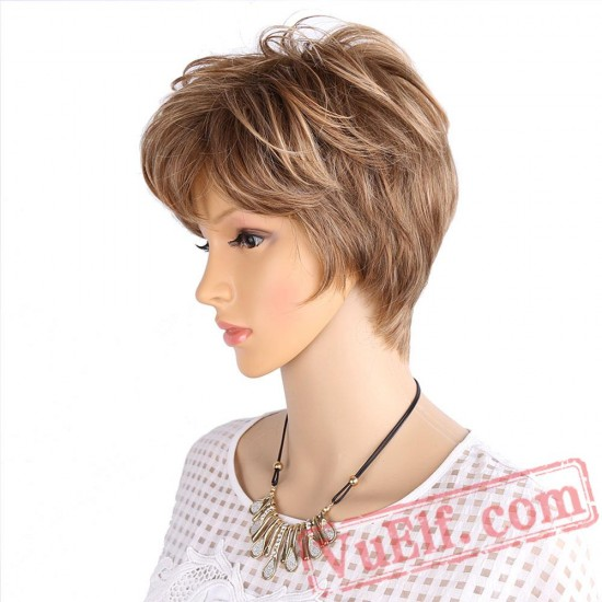 Fluffy Short Wigs white women Blonde wig Curly Short Hair Wig