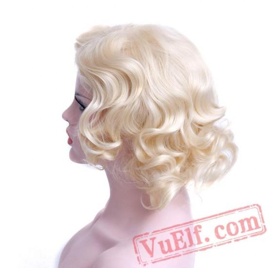 Curly Hair Platinum Blonde Wig Cosplay Ladies Wigs Short