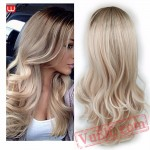 Long Brown Ash Blonde Wig