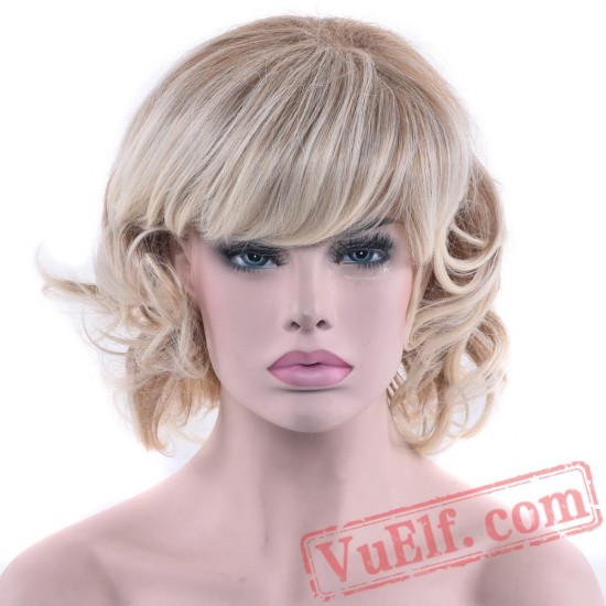Curly Short Blonde Wigs Cosplay Wigs Hair Party Hair Wig Women