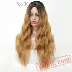 Blonde Wig Long Hair Kinky Curly Wigs Women Hair