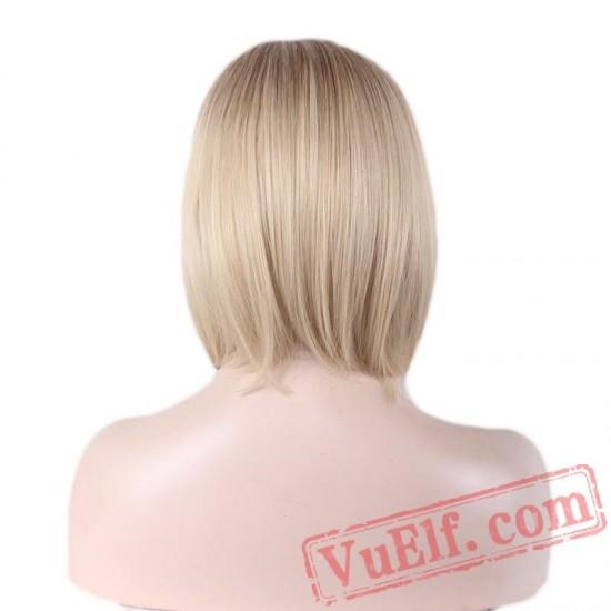 straight short bob wigs women hair blonde wig dark roots