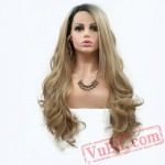 Natural Wave Blonde Wig Dark Roots Long Hair Lace Frontal Wigs Women