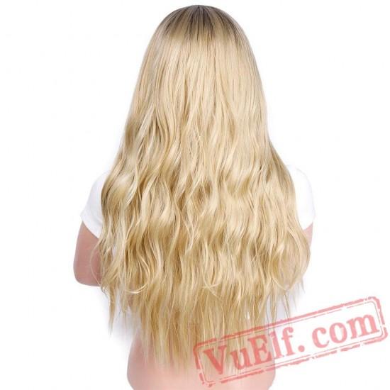 Beauty Blonde Wig Long Wavy Wigs Women Cosplay Blond Hair