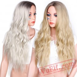 Beauty Blonde Wig Long Wavy Wigs Women Cosplay Blond Hair