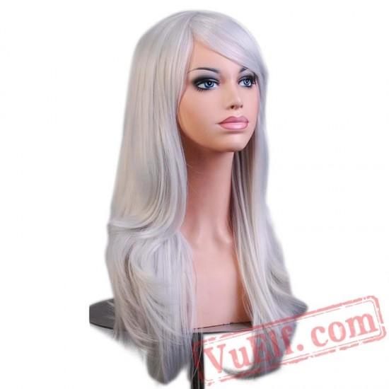 Long Wavy Gray Blonde Wig Hair Brown Cosplay Wigs Black Women