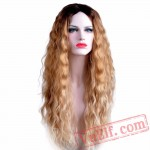 Long Blonde Wigs Women Nature Wave Black