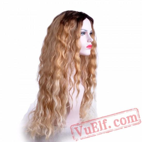 Long Blonde Wigs Women Nature Wave Black