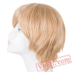 Blonde Wigs Inclined Bangs Women Hair