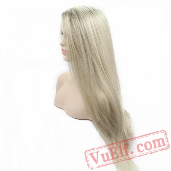 Long Silky Straight Wig Blonde Wig Lace Front Wigs Women