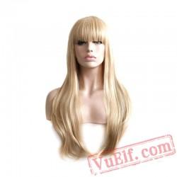 ladies blond wig straight hair long blonde wig women