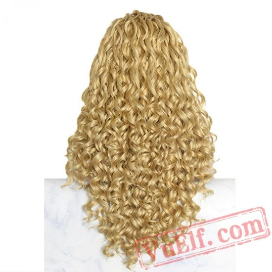 Curly Blonde Lace Front Long Wigs Women Natural Hair Cosplay Wig