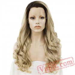 Blonde Wig Natural Wavy Lace Front Wig Women Dark Root Wigs