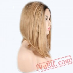 Blonde Natural Straight Short Bob Wig Natural Lace Front Wig Women