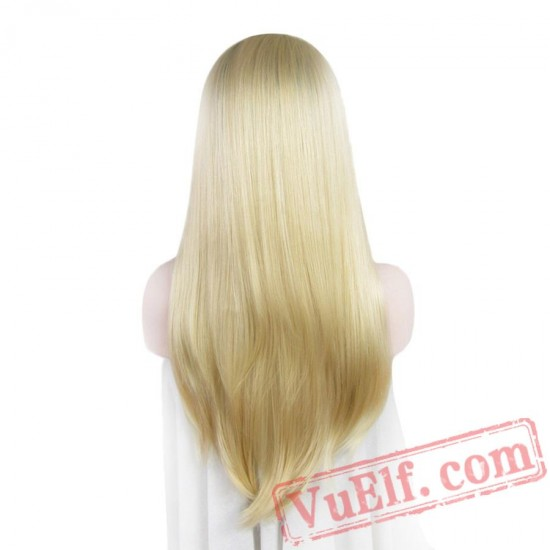Lace Front Stright Blonde Wigs Women Dark Root Long Hair Lace Wig Cosplay
