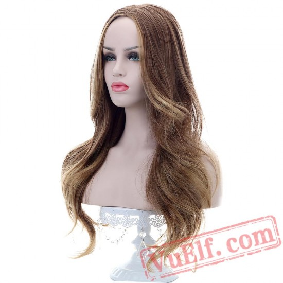 Beauty Long Wavy Hair Brown Blonde Wigs Black/White Women Cosplay/Party Wig