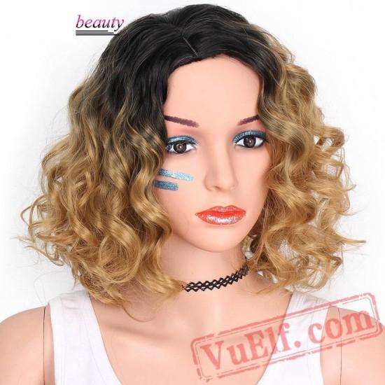 beauty Black Short Blonde Wigs Women Wavy Wig Fluffy Hair Cosplay