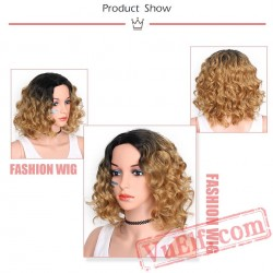 beauty Black Short Blonde Wigs Women Wavy Wig Fluffy Hair Cosplay