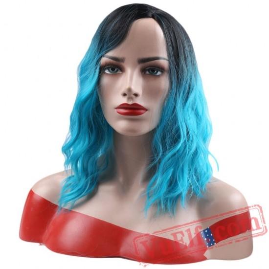Short Curly False Hair Red Blue Pink Wigs Short Hair Women's