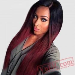 beauty Long Straight Black Red Wigs Women Cosplay Blonde
