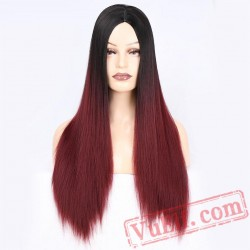 beauty Long Straight Black Red Wigs Women Cosplay Blonde
