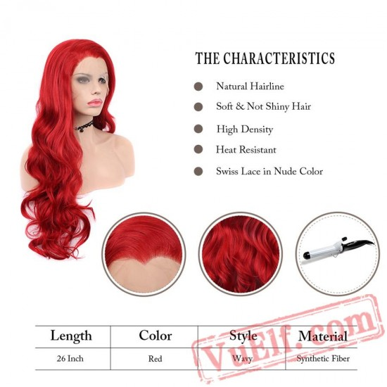 Long Wavy Red Wig Lace Front Wigs Women Cosplay Wig