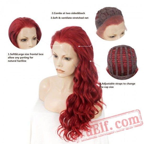 Lace Front Wave Long Hair Wigs Women Cosplay Wig