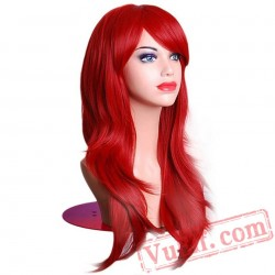 Halloween Hair Long Wavy Wigs Women Red Wig Hair Cosplay Wig