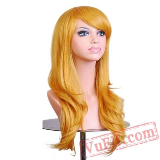 Halloween Hair Long Wavy Wigs Women Red Wig Hair Cosplay Wig