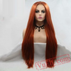 Brown Red Wig Long Straight Hair Lace Wig