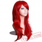 Hair Long Wavy Red Wig Womans Cosplay Wigs White Women Hair