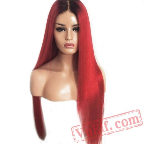 Long Straight Lace Front Wig Black Root Red Wigs Women