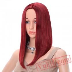Short Red Wig Straight Black Bob Wigs Women