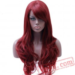 Long Full Red Wavy Wigs Black Women Red Cosplay Wig