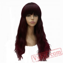 Beauty Long Wavy Red Wigs Full Capless Wig Bangs