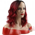 Short Water Wave False Hair Red Wigs Short Black Hair Women