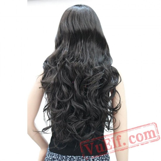 Beauty Women's Wig Long Curly Wig Capless Black/Red Hair
