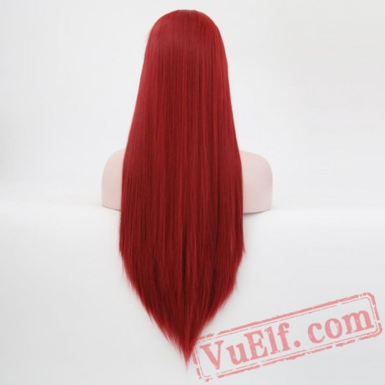 Silky Straight Hair Lace Front Red Wig Hair Wigs Black Women
