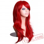 Long Wavy Red Wigs Hair Cosplay Wig Black White Women