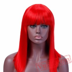 Long Straight Cospaly Wig Bangs Red Wig Womens Wigs Hair