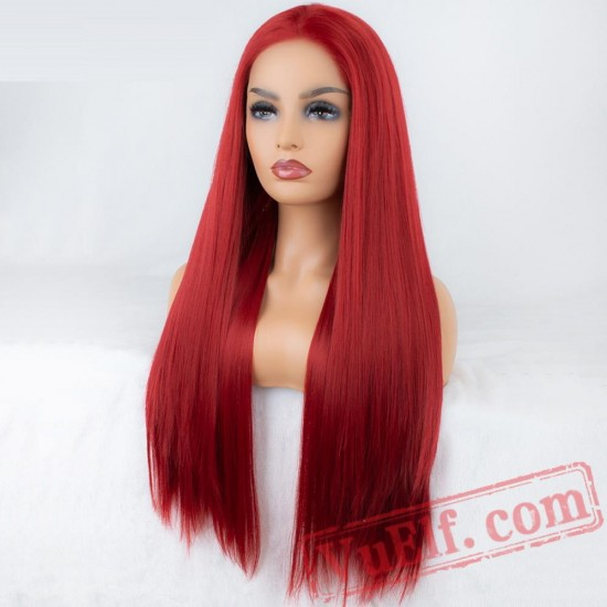 Long Red Wig Natural Straight Lace Front Wig Long Wigs Women
