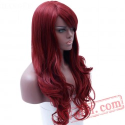 Long Full Red Wavy Wigs Black Women Wig Red Cosplay Wig
