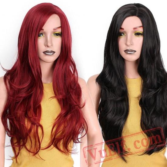 Red Long Wavy Hair Women Black Hairs Wave Cosplay Wigs Hair