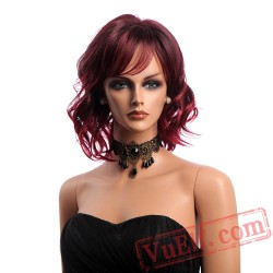 Hair Wine Red Wig Woman Short Wavy Wigs Bangs