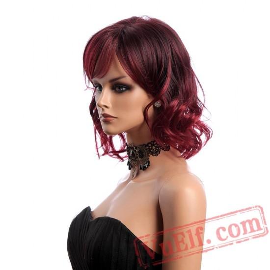 Hair Wine Red Wig Woman Short Wavy Wigs Bangs