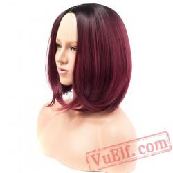 Short Burgundy Bob Red Wigs Straight Hair