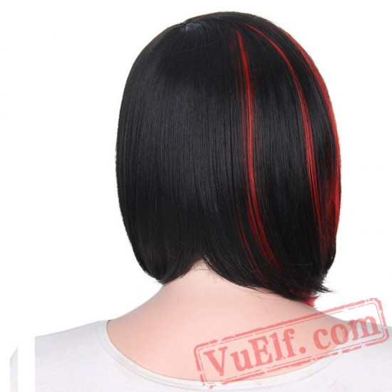 Bob Black Red Purple Straight Wigs Short Hair