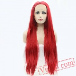Long Red Straight Lace Front Wig Hair Wigs Cosplay Women