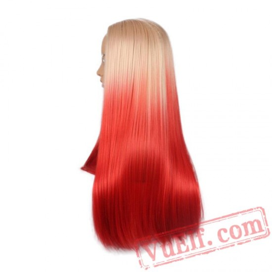 Long Hair Two Beige Red Wigs Natural Silky Straight Wig